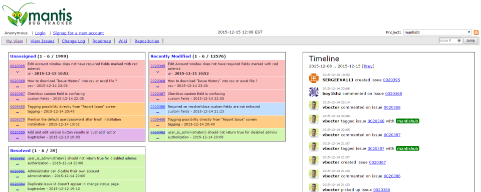 """The traditional MantisBT """"My View"""" dashboard detailing issue overviews for those assigned and unassigned, recently modified, plus the Timeline live stream showing latest team actions"""