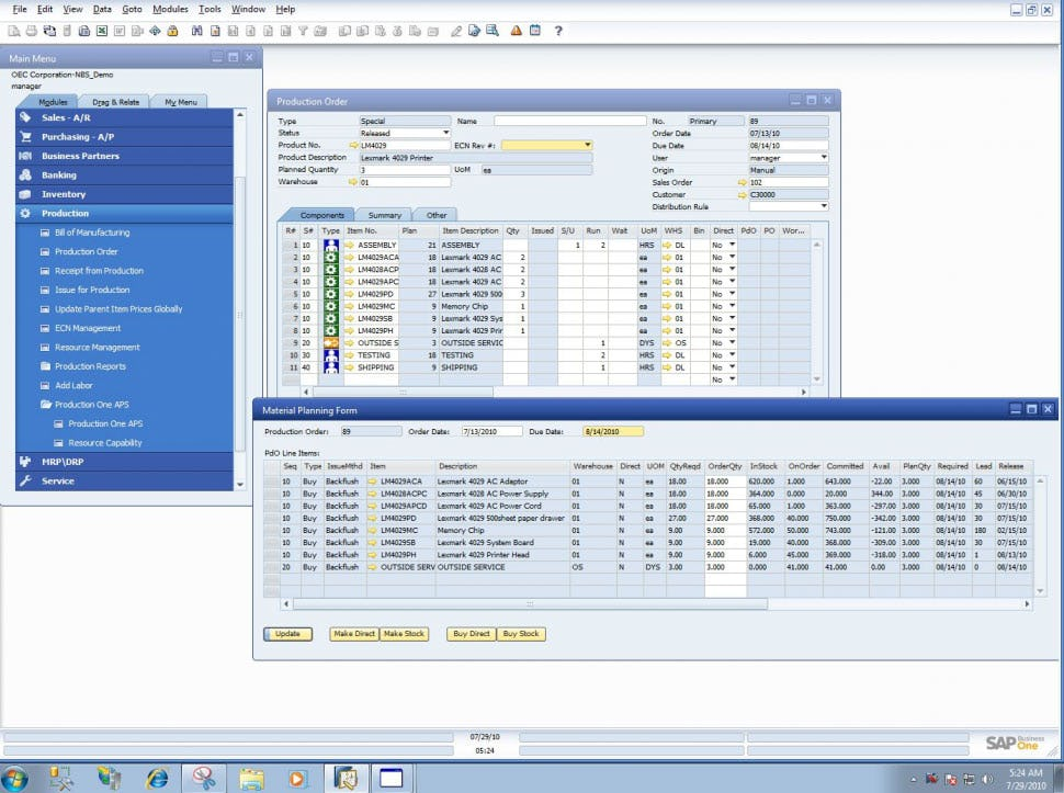 SAP Business One Software - SAP Business One production planning
