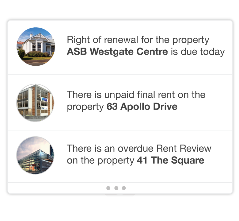 Re-Leased's dashboard includes information on upcoming tasks, with reminders