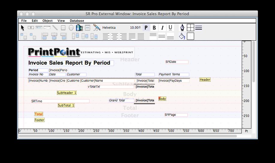 PrintPoint sales report editor