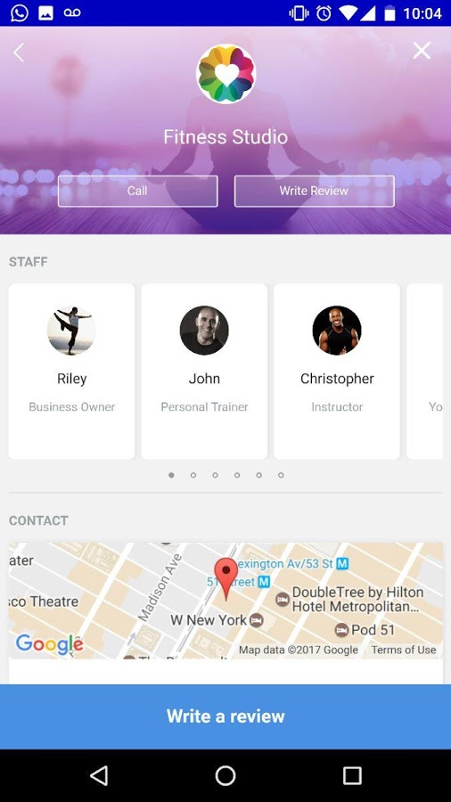 The mobile apps include a studio locator with staff details and Google maps integration to find nearby studios
