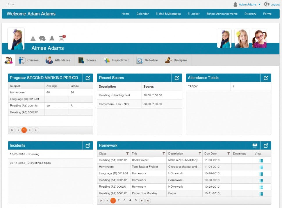 Administrator's Plus Software - Student data