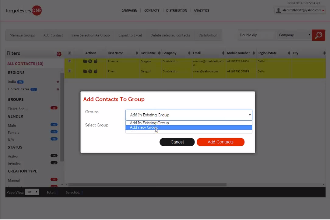 Group contacts into logical groups to channelize campaign distribution