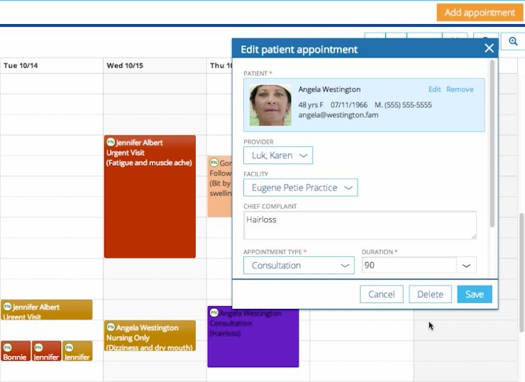 Practice Fusion enables scheduling and managing appointments