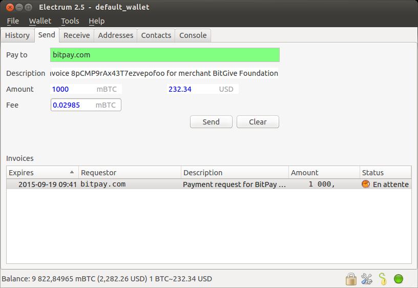 Electrum send Bitcoins