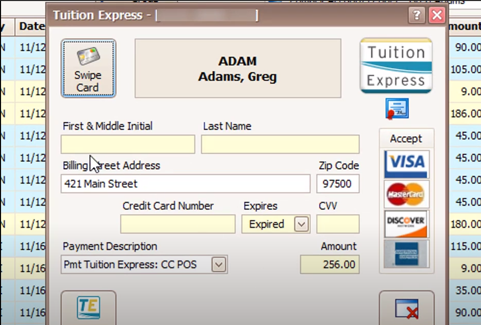 Tuition Express POS transactions