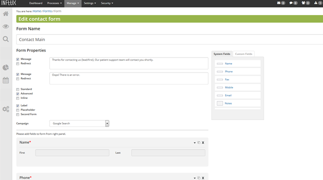 The form builder allows users to develop registration forms, quizzes, contact forms, surveys, and more