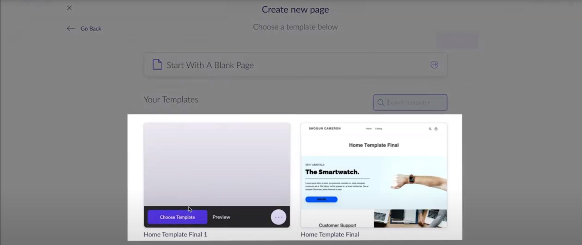 Shogun screenshot: Shogun create new page