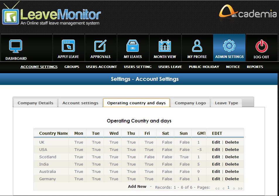 LeaveMonitor Software - Settings