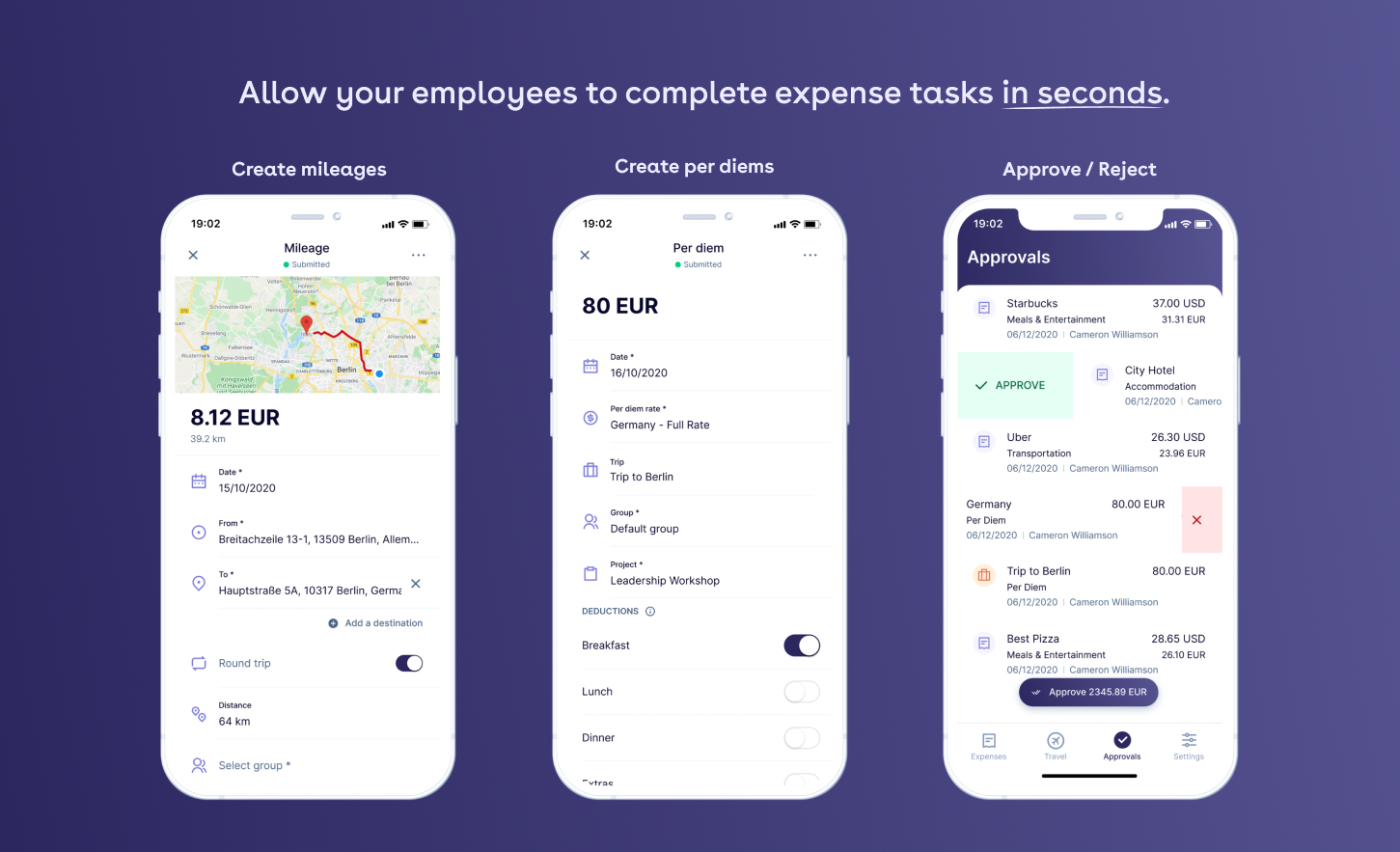 Allow your employees to complete expense tasks in seconds