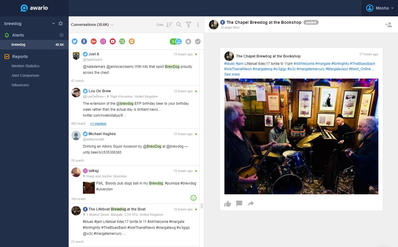 Awario screenshot: Mention feed in Awario