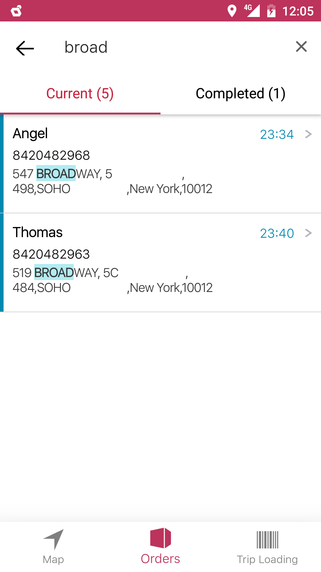 Order list view within the delivery associates application