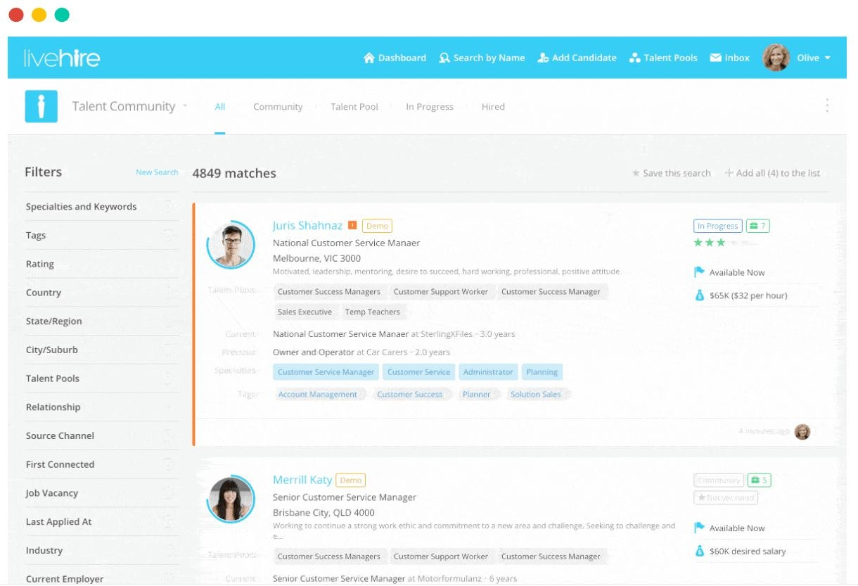 LiveHire screenshot: LiveHire filtered applicants