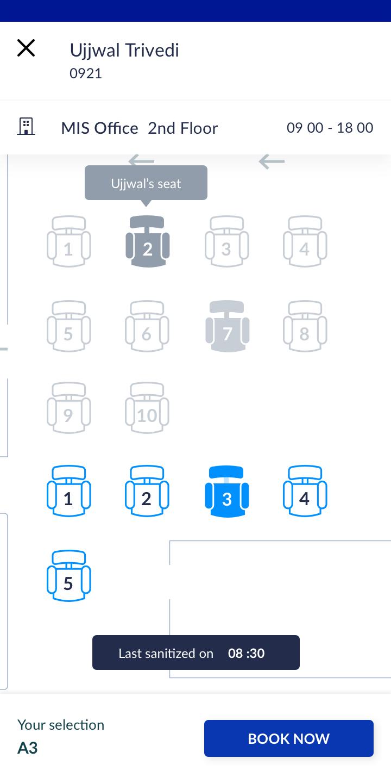 WorkInSync Software - Employee App - Seat Booking - Floor plan view