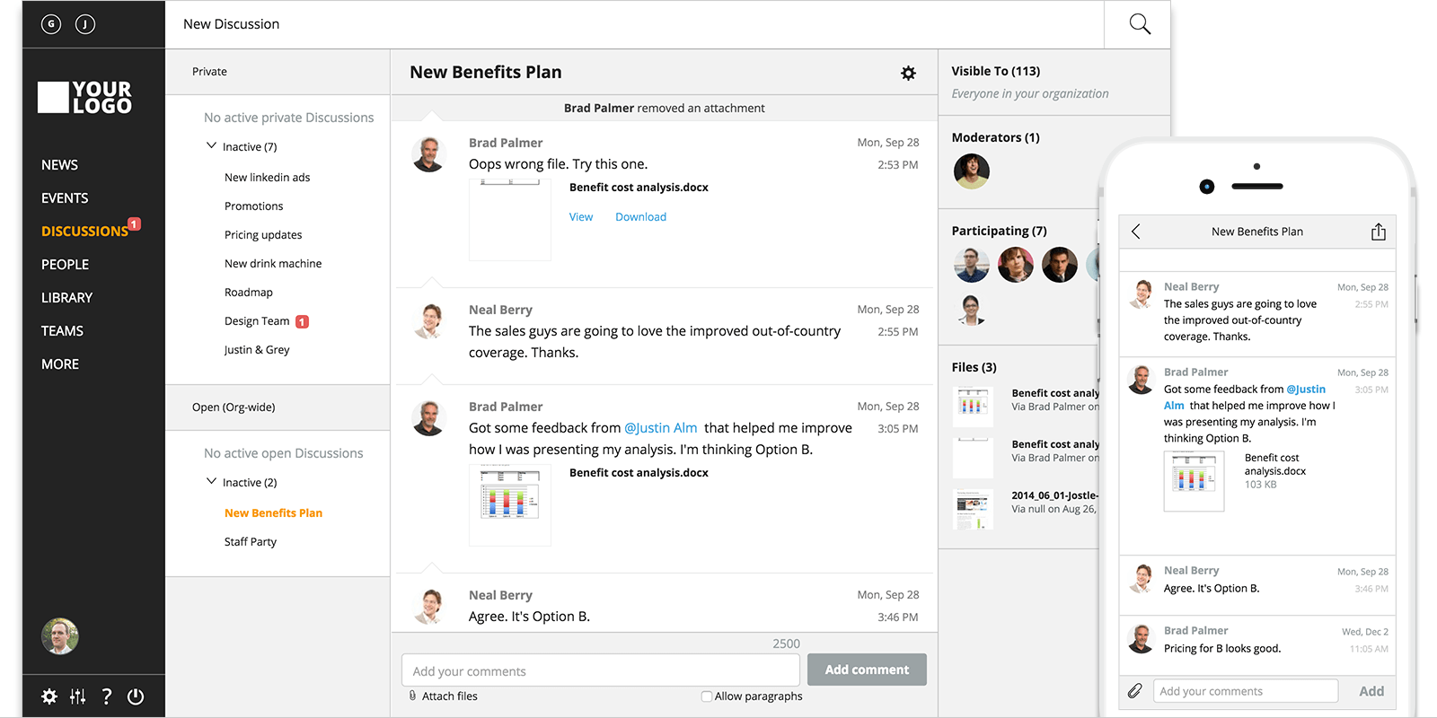 Escape your crowded email inbox with discussions.