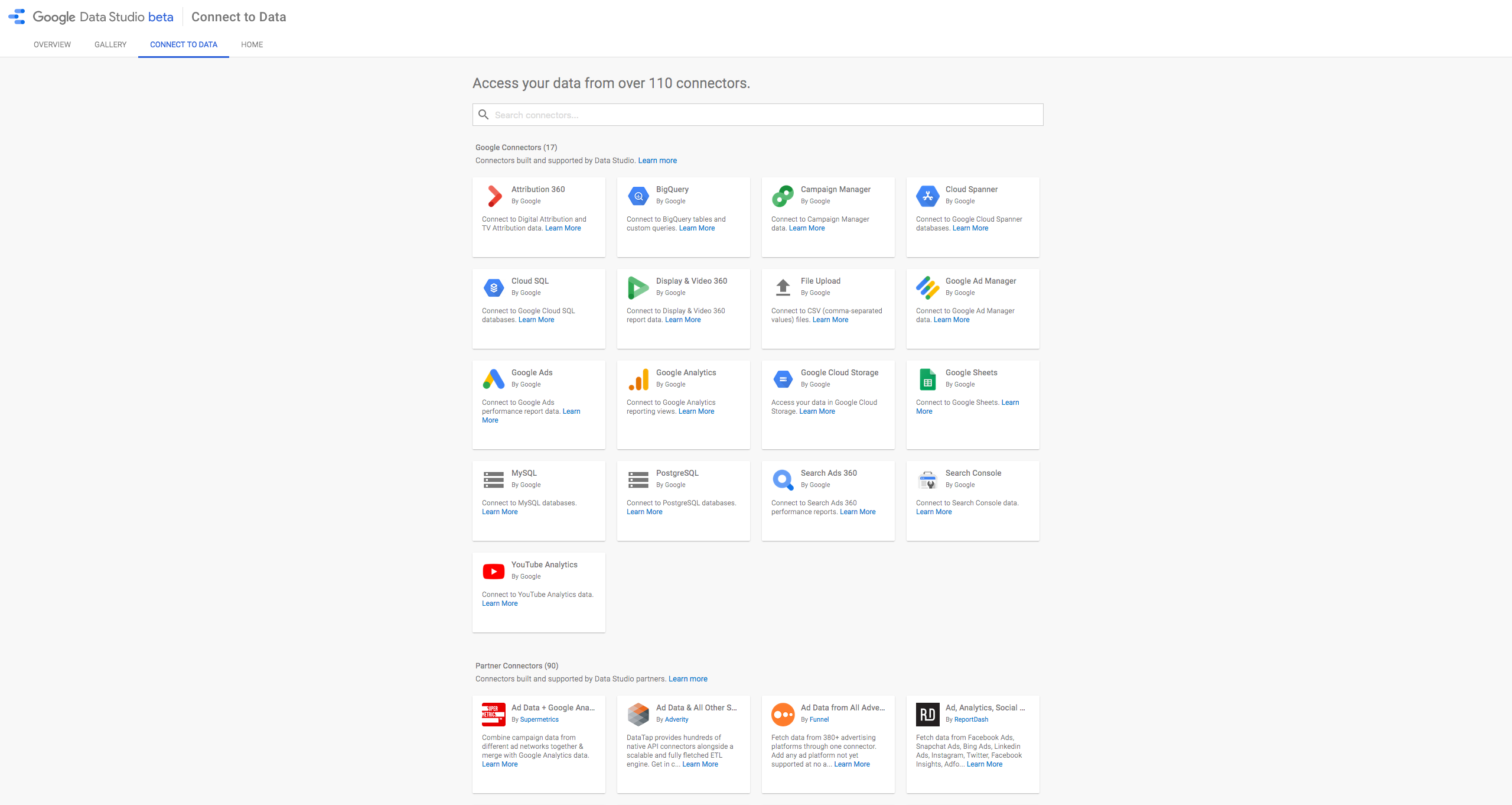 Google Data Studio Software - Data can be accessed via over 110 connectors from Google, a growing number of Data Studio partners, and those from the open source community