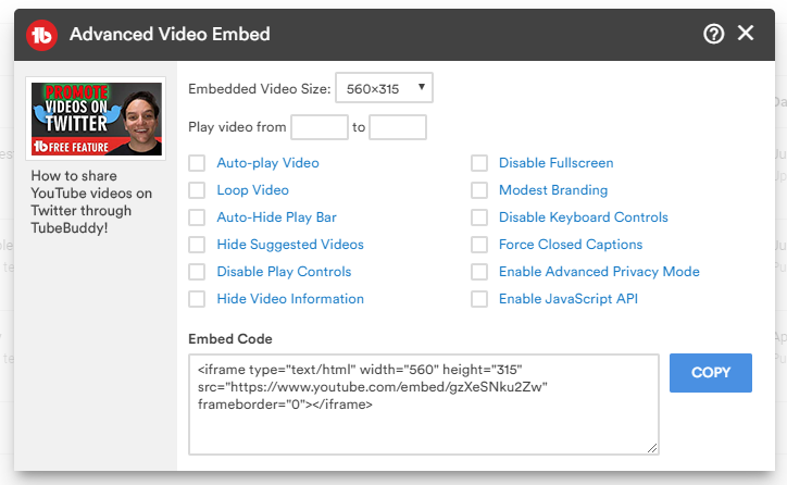 TubeBuddy embedded video