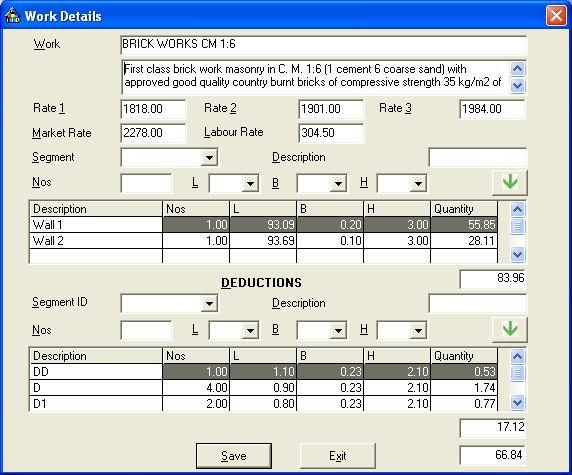 Estimator 2.0 work details screenshot