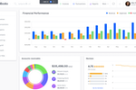 Captura de tela do ZipBooks: Financial performance metrics can be tracked through the dashboard