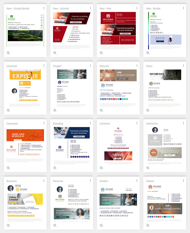 AdSigner Software - Large selection of predefined signature designs