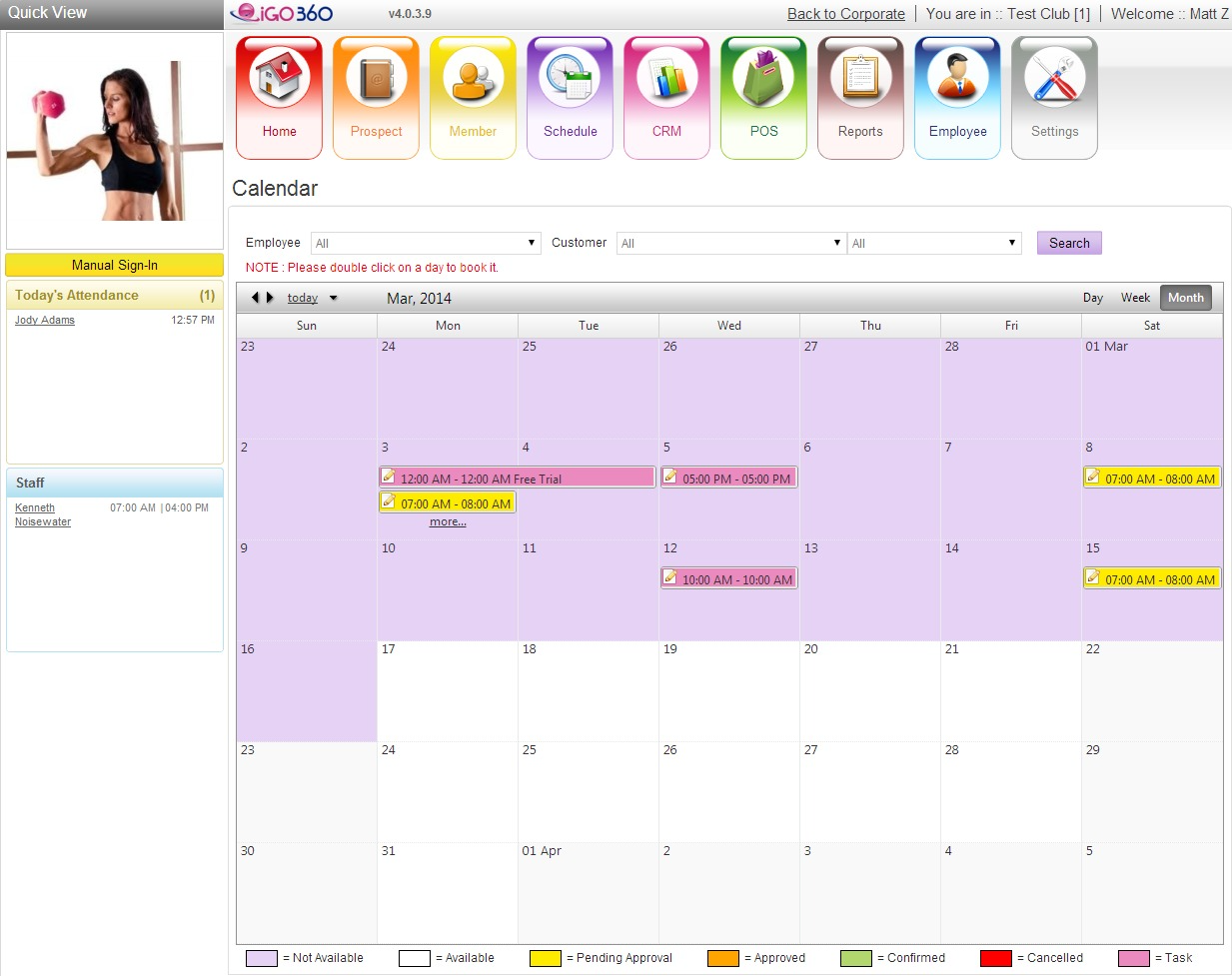 iGo Figure's calendar displays events differently based on whether they are pending approval, approved, or confirmed