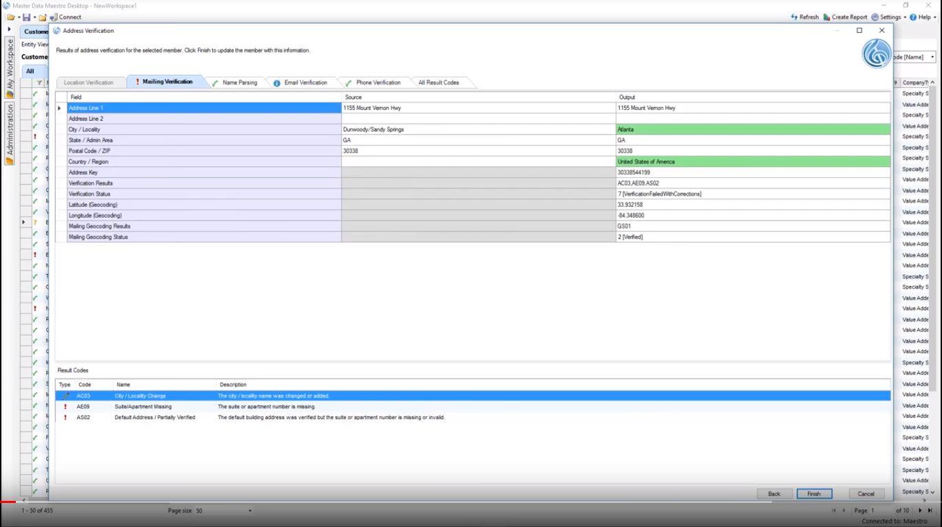 Profisee contact details verification screenshot