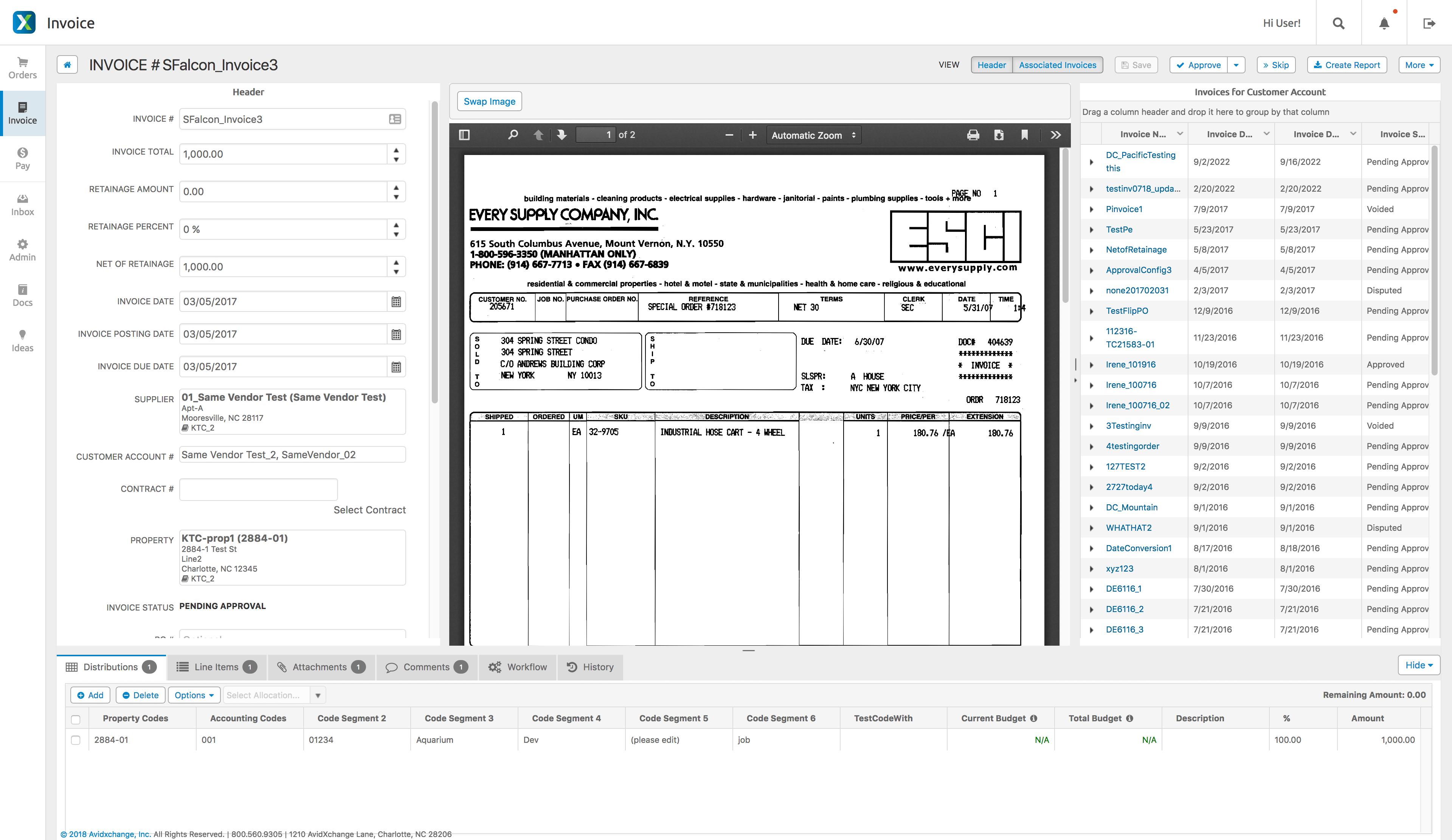 AvidXchange Software - AvidXchange invoice detail & associated invoices screenshot