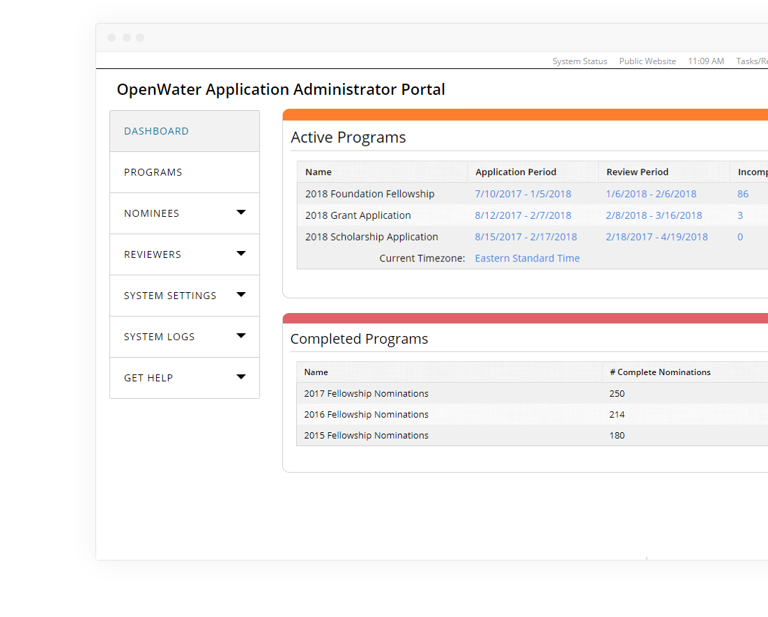 Administrators can view the entire fellowship nomination and award process in one dashboard