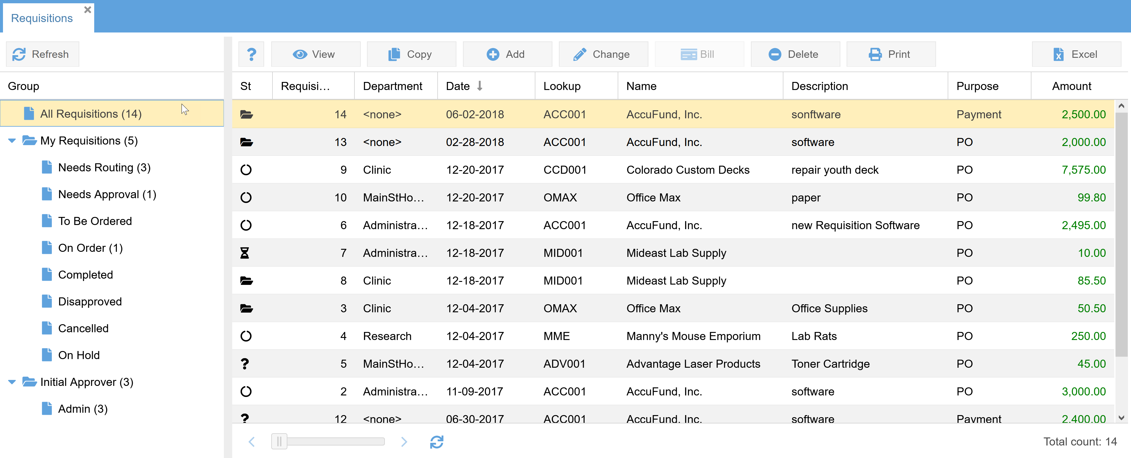AccuFund Accounting Suite Software - Streamline your Purchase Order & Payment Request Processes. AccuFund makes it easy to track requisitions through multiple approval stages. All activity is date- and user-stamped for convenient status updates and reporting.
