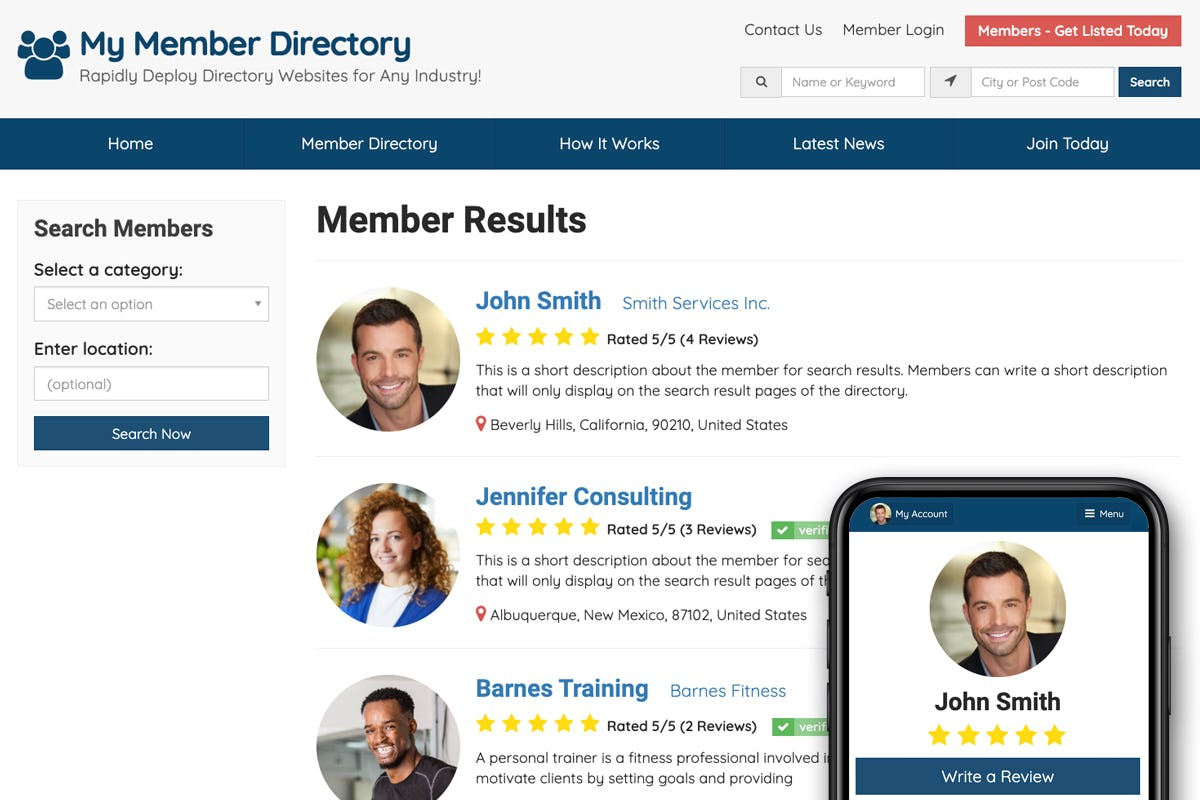 Brilliant Directories Software - Private or Public Directory to Search Members & Business Listings