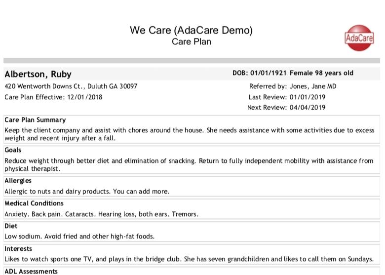 Client Care Plan