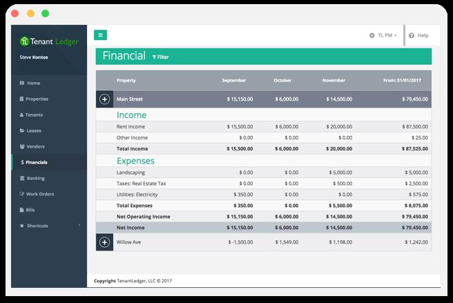 Tenant Ledger screenshot: Tenant Ledger finance dashboard screenshot