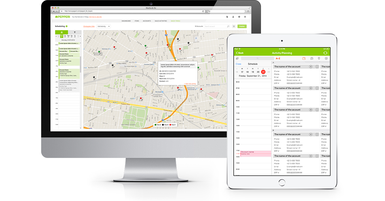 Pepperi screenshot: Pepperi Route & Activity Planning on web and mobile devices