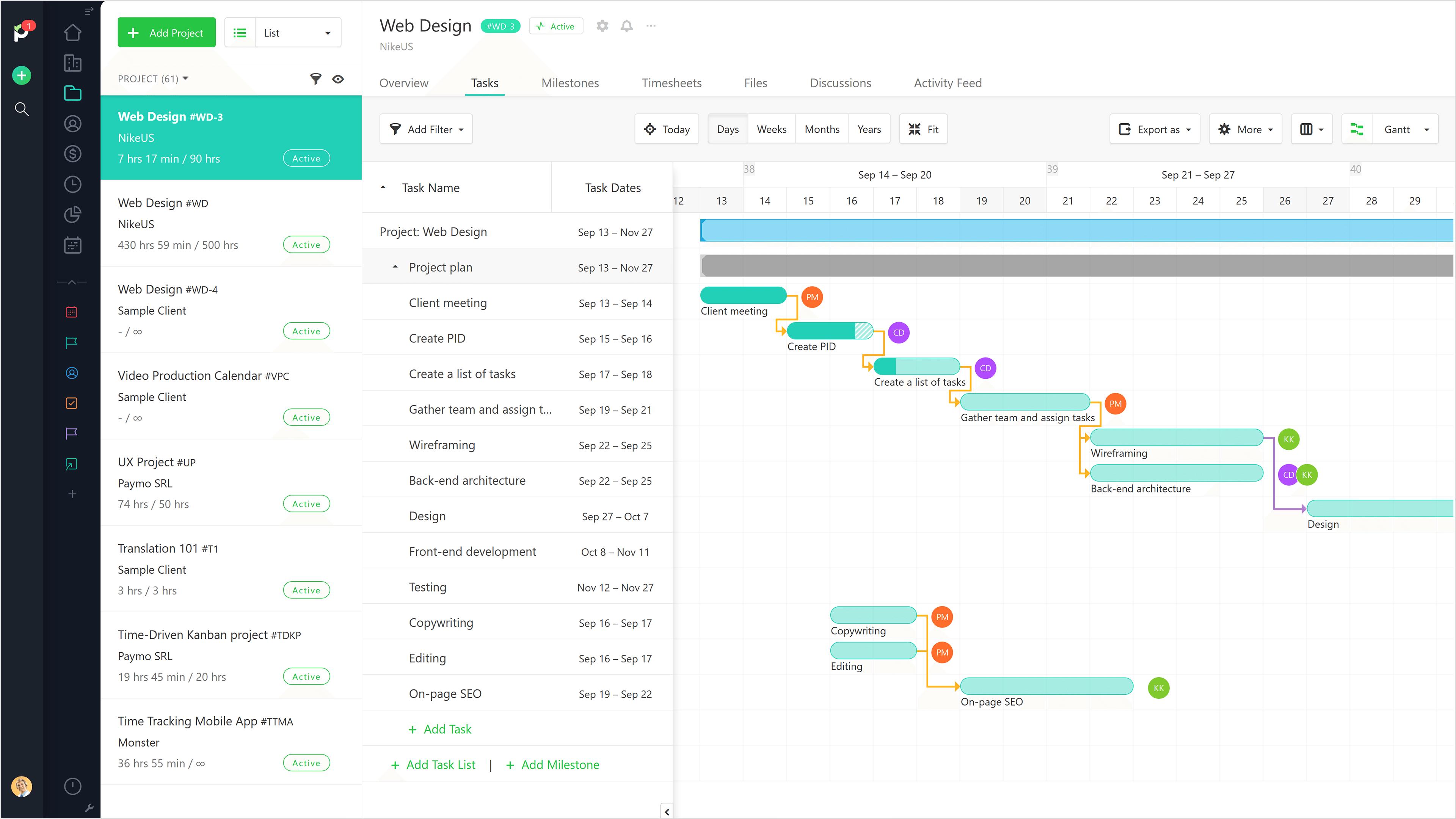 Paymo Software - Gantt Chart