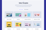 Captura de tela do Sleeknote: Select a pre-made popup template. Or start with a blank template, and customize as you need. 119 templates available.