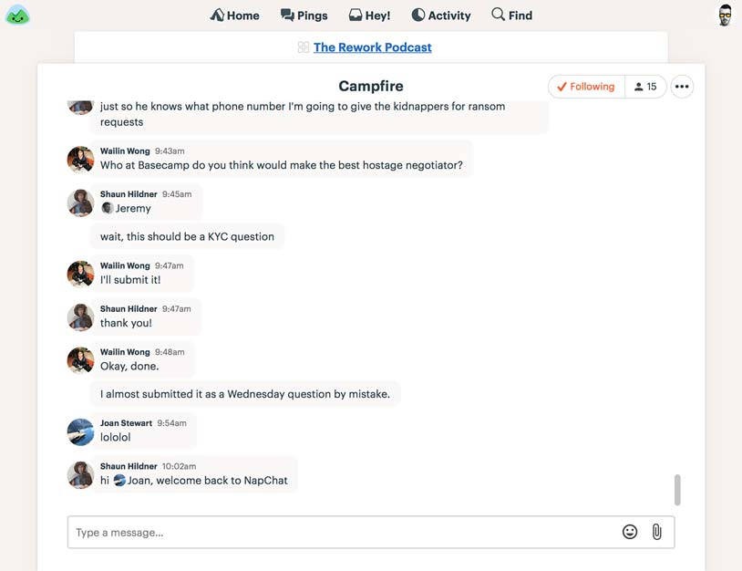 Group chat and instant messaging are built in to Basecamp, eliminating the need for a separate chat tool