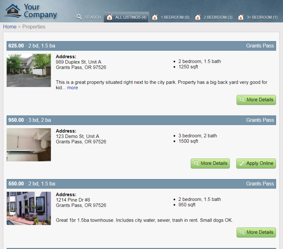 Property Listings Website