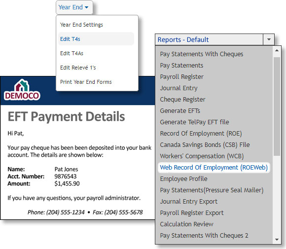 Payroll records of employment EFT
