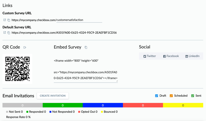 Multiple survey distribution methods, including link, QR code, embedding, social media, and email invitations/reminders.