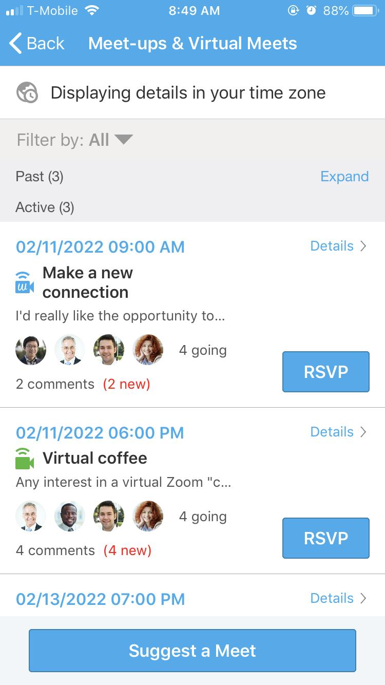 Whova virtual meet-ups