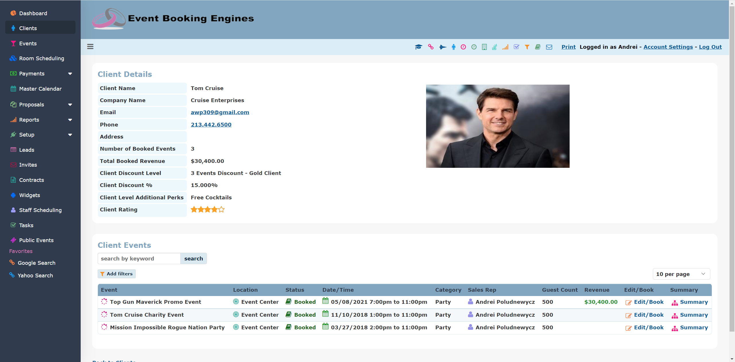 Event Booking Engines Software - Client Details and Client Events
