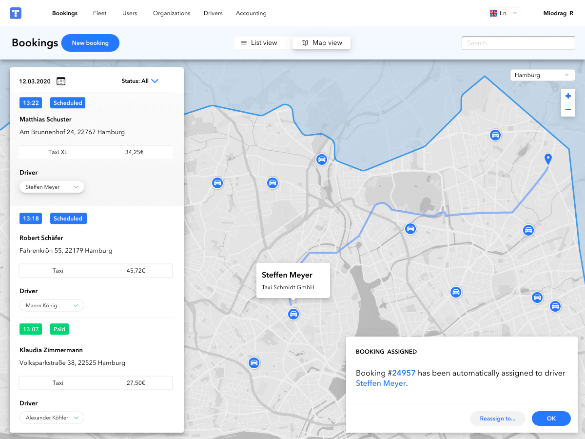 M-TRIBES Taxi Software dispatching dashboard