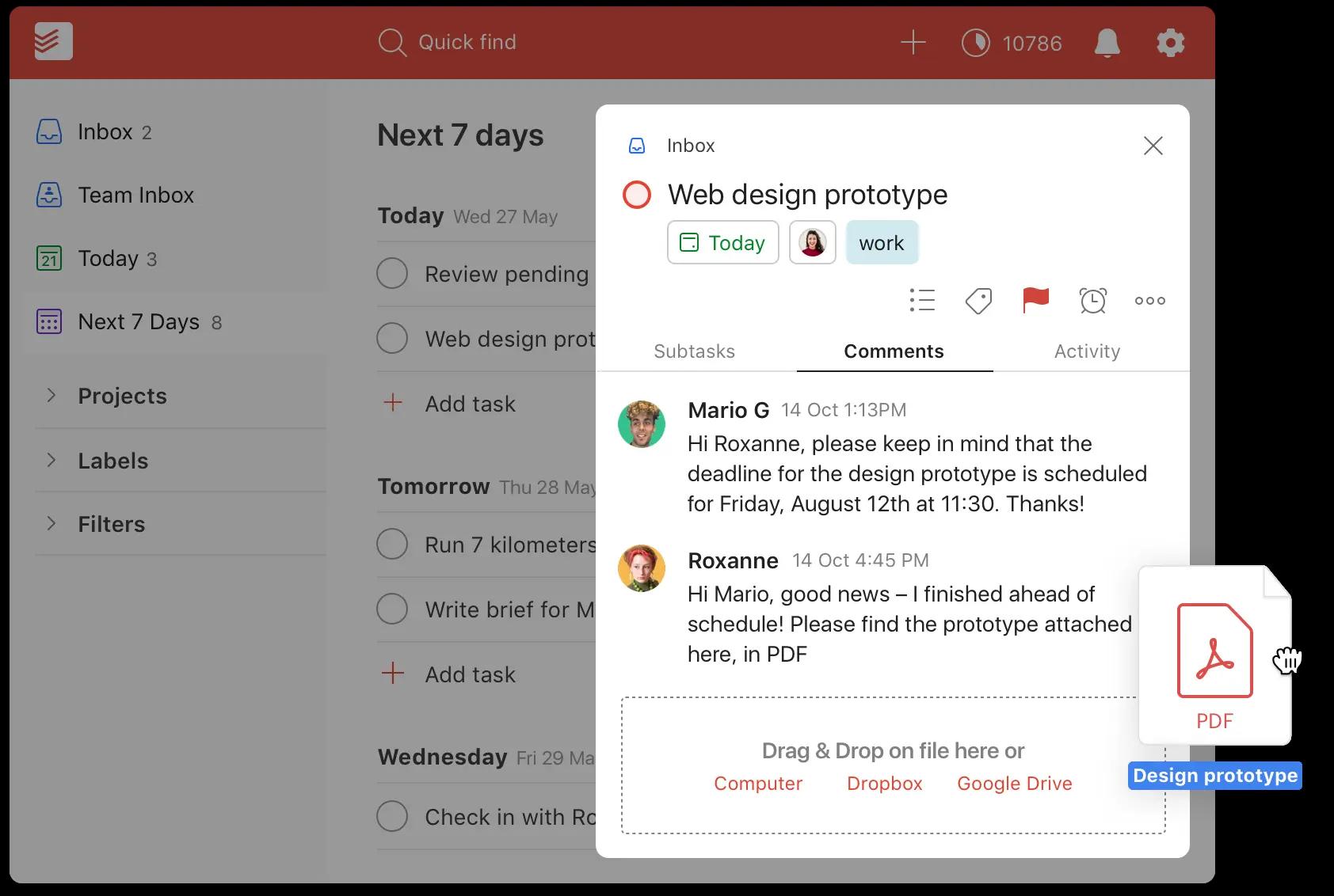 Todoist Software - Todoist web design prototype