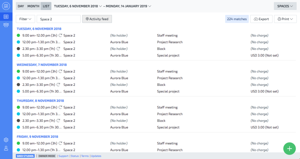 Skedda lists screenshot