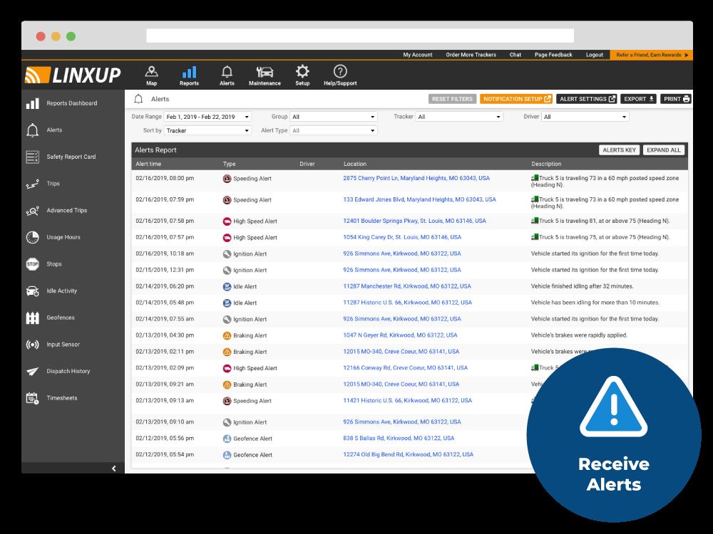 Linxup alerts report