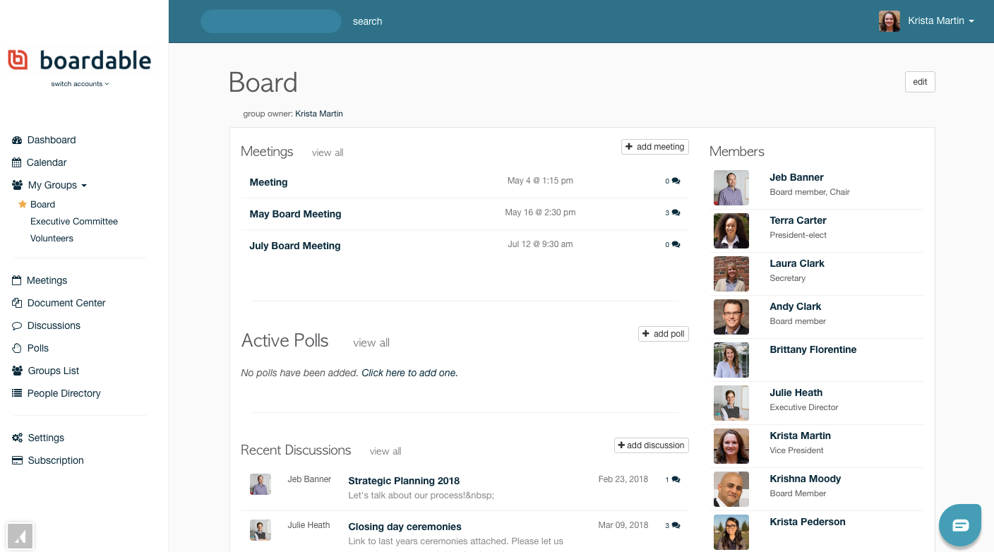 Boardable group page