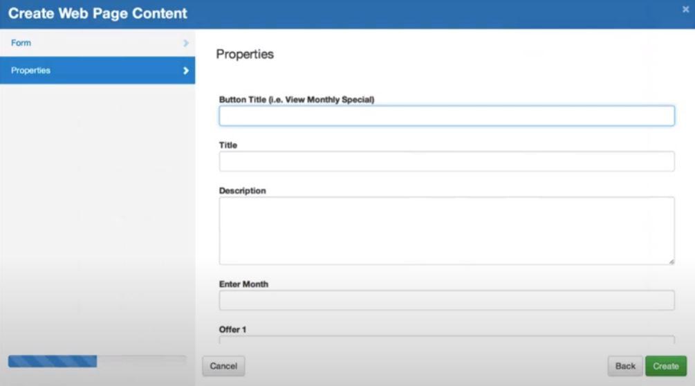 Cloud CMS create web page content