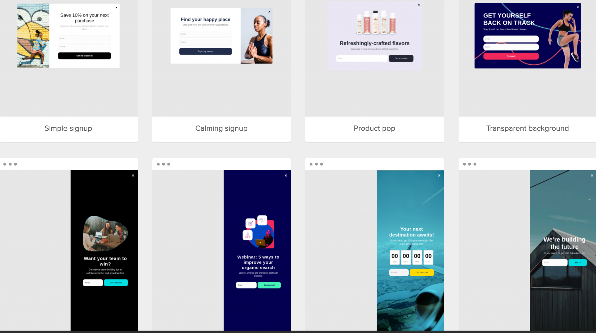 Pop-up templates examples