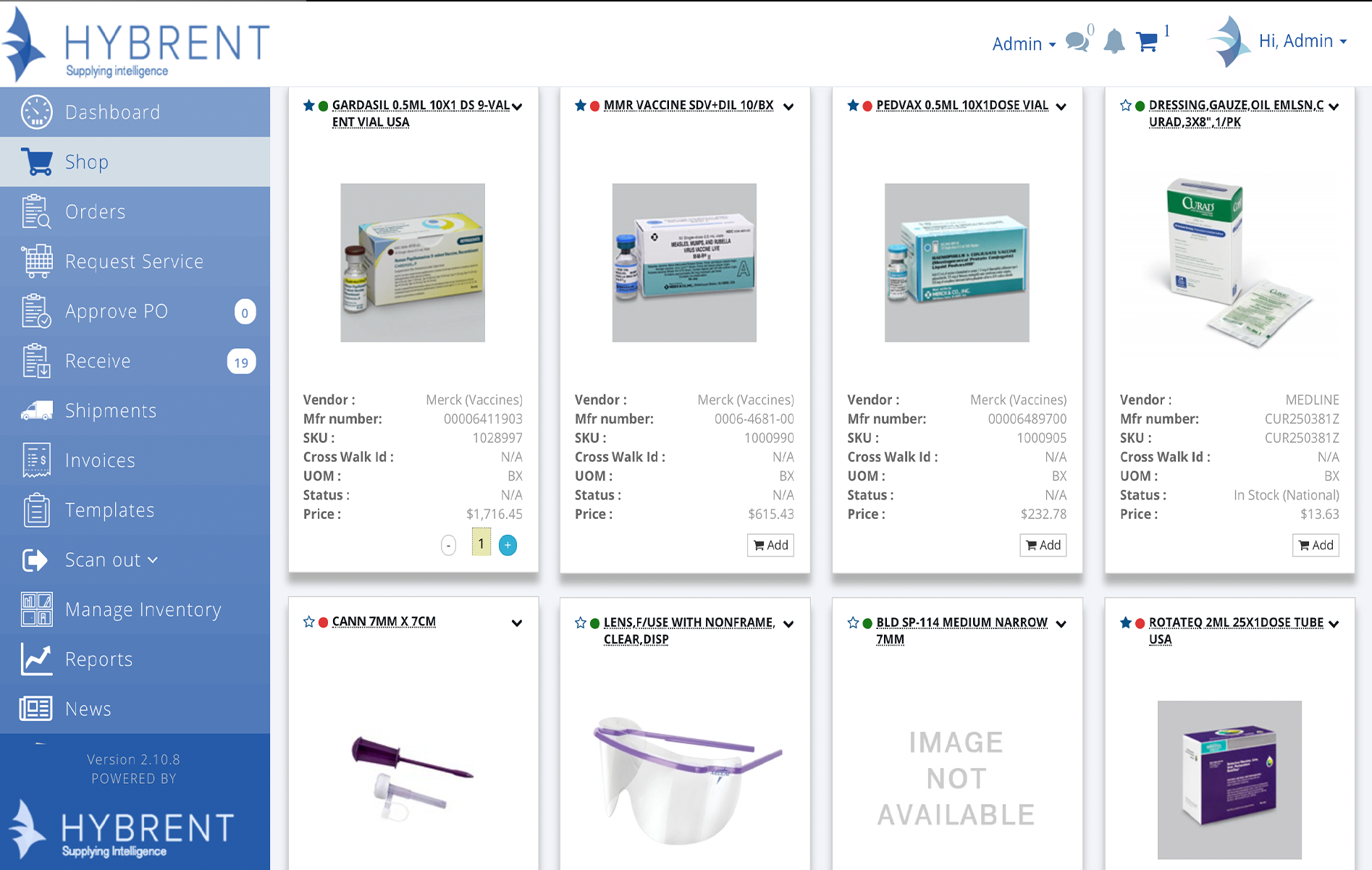 Hybrent Software - Shopping screen with product images