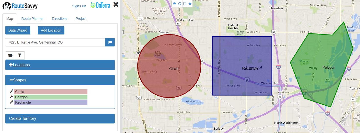 Create shapes in RouteSavvy to select locations or to manually create custom territories
